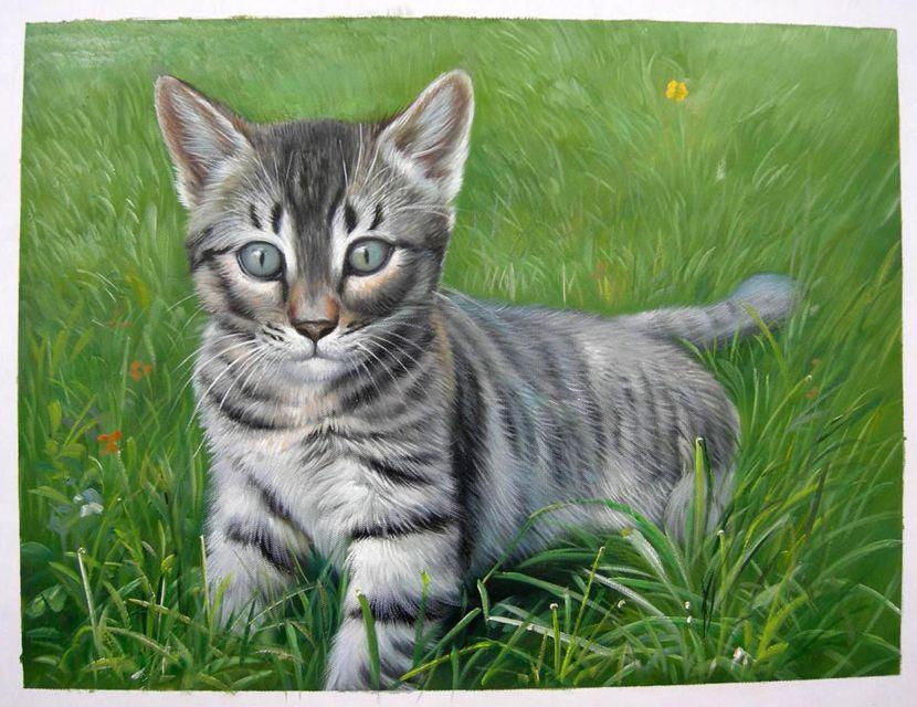 Retrato Al óleo Personalizado De Un Gatito Pintado Por Un Pintor