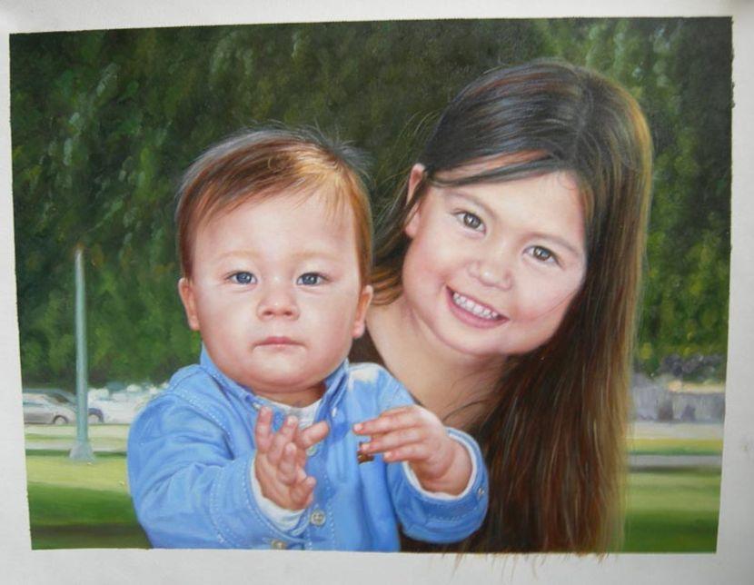 Retrato al leo personlizado de unos ni os pintado a mano - Retratos de ninos al oleo ...